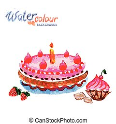 pastries and cakes white background with space for text, watercolor