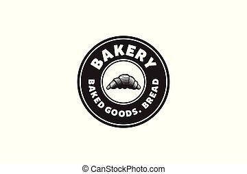 Pastries, Round Label Badge Vintage Bakery Logo