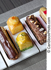 Various French pastries in a tea room
