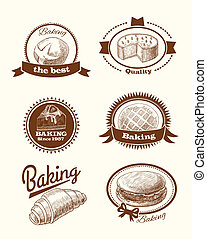 Pastry and bread labels - Baked pastry cakes and traditional...
