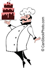 Pastry chef carrying a chocolate layered cake, vector...