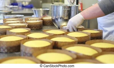 pastry chef hands icing dough for easter sweet bread cakes