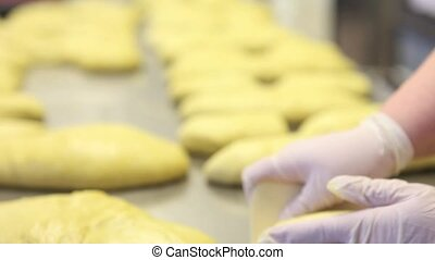 pastry chef hands preparing the dough for Easter cake doves