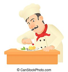 Pastry chef icon, cartoon style