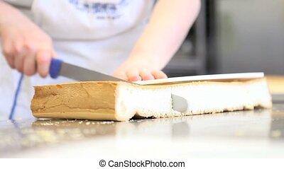 pastry chef prepares sponge cake - pastry chef prepares the...