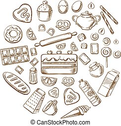 Pastry, dessert and bakery sketch icons