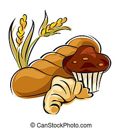 pastry - vector image of bread and pastry