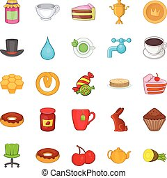 Pastry icons set, cartoon style