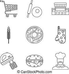 Pastry icons set, outline style