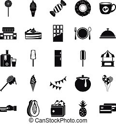 Pastry icons set, simple style
