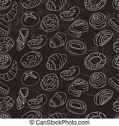 pastry., padrão, diferente, seamless