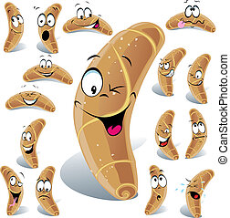 pastry roll cartoon with many expressions isolated on white background