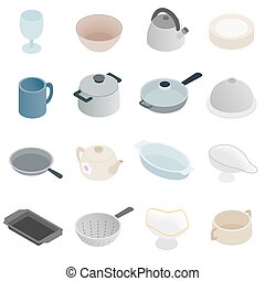Pastry set icons, isometric 3d style