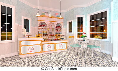 Pastry shop - 3D CG rendering of the pastry shop.