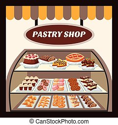 Pastry Shop Background - Pastry shop background with tasty ...