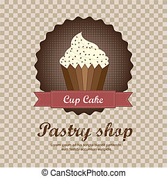 pastry shop background with cup cake. vector illustration