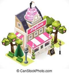 Pastry Shop City Building 3D Isometric - Small Pastry Shop...