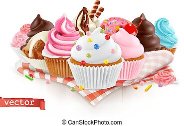 Pastry shop, confectionery. Sweet dessert. Cake, cupcake. 3d...