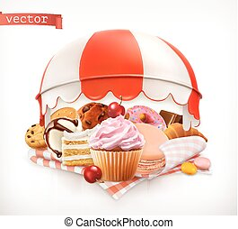 Pastry shop, confectionery. Sweet dessert. Cake, cupcake,...