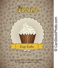 pastry shop menu with cup cake . vector illustration