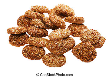 pastry with sesame seeds on white
