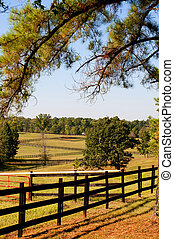 Pasture Fence - The fence on a large horse pasture