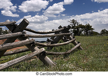 Pasture - Old wooden fence