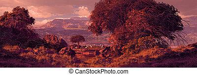 pastureland, met, schaap, grazen