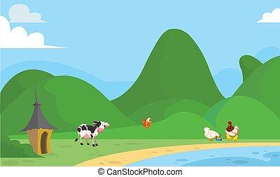 pastwiskowy, trawa, zwierzęta, rzeka