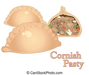 a vector illustration in eps 10 format of freshly made cornish pasties with one cut in half on a white background
