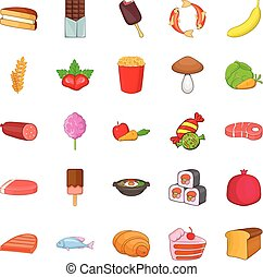 Pasty icons set. Cartoon set of 25 pasty vector icons for web isolated on white background