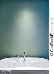 pasztell, fürdőszoba, modern, befest, zöld, használ, lágy