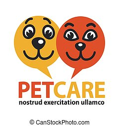 Pat care emblem with dog and cat faces in circles