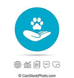 pata, abrigo, segura, símbolo., mão, animais estimação, icon., sinal