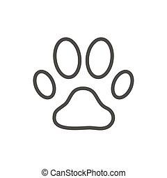 pata, cão, símbolo., impressão, vector., pegada, linha, ícone