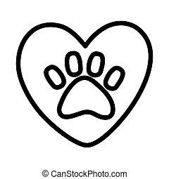 pata, campanha, adoção, coração, amor, impressão animal