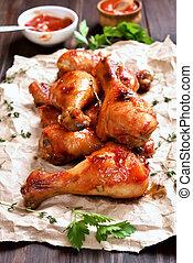 pata de pollo, pollo, asado