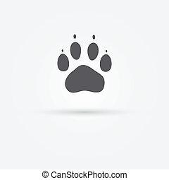 pata, -, gato, vetorial, pegada, ícone