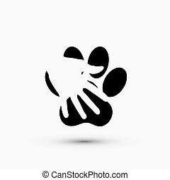 pata, modernos, mão, vetorial, pretas, branca, ter, ícone