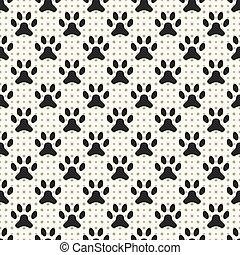 pata, padrão, seamless, animal, pegada, ponto