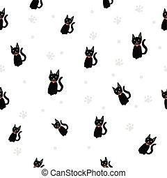 pata, padrão, seamless, /, gato, experiência., pretas, impressão