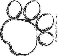 pata, pintura, apoplexia, pretas, impressão, logotipo