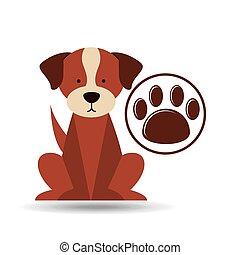 pata, veterinário, cão, impressão, cuidado, ícone