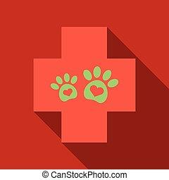 pata, veterinário, símbolo., clínica, impressão animal