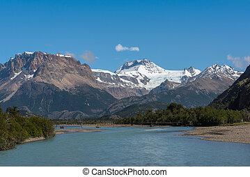 patagonia, chalten, río, vueltas, argentina, las, el