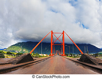Red bridge over the fjord