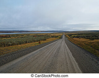 Long road in the patagonian plain, north west of Punta Arenas