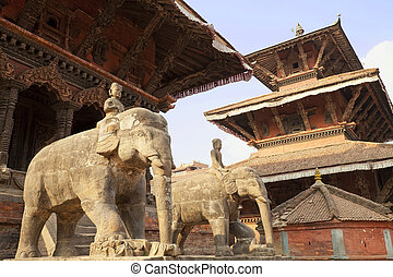 Patan Durbar Square, Nepal - Image of ancient buildings in...