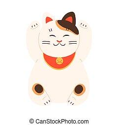 patas, estatua, tradicional, gato blanco, levantado, japonés, maneki, neko