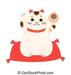 patas, tradicional, gato blanco, levantado, japonés, sonriente, maneki, neko